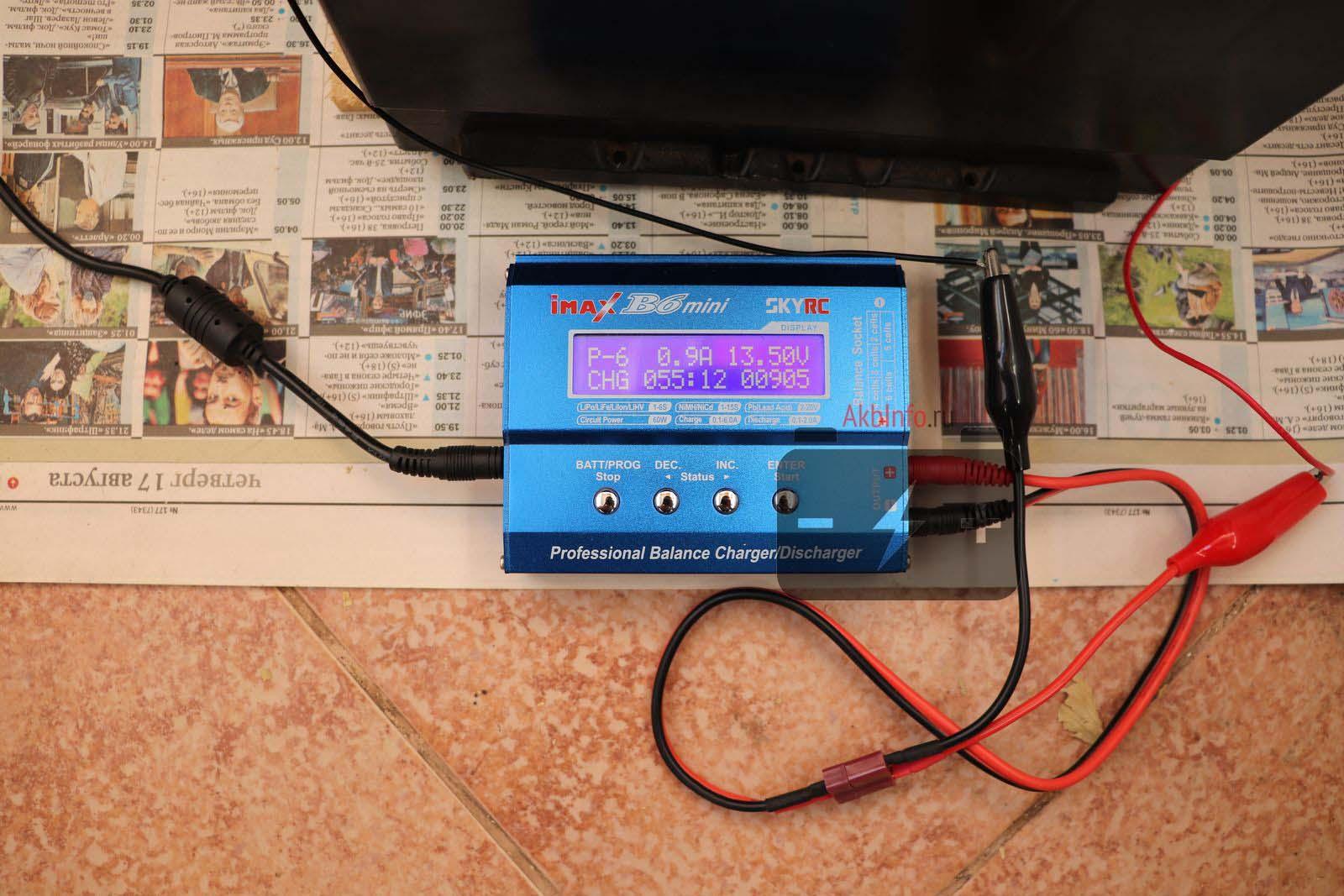 Зарядка автомобильного аккумулятора устройством iMax B6
