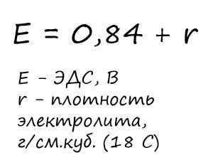 Эмпирическая формула расчета ЭДС в зависимости от плотности электролита