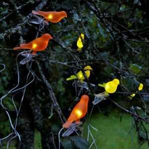Гирлянда на солнечных батареях в виде птиц
