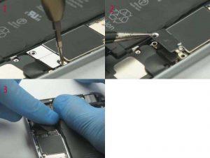 Снятие металлической пластины и отключение шлейфа аккумулятора