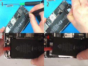 Снятие клеевых полос АКБ Apple iPhone 5S