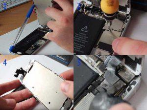 Замена аккумулятора iPhone 5: отсоединяем шлейфы и снимаем дисплей