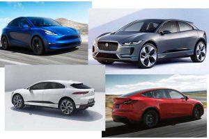 Электромобили Tesla Model Y и Jaguar I-Pace