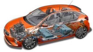 Схематичная конструкция Opel Corsa-e
