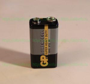 Щелочная батарейка «Крона» 9 V GP 1604S 6F22