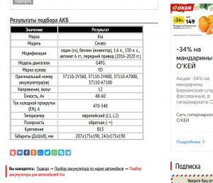Результат подбора АКБ для Kia Cerato с мотором 1,6 л G4FG
