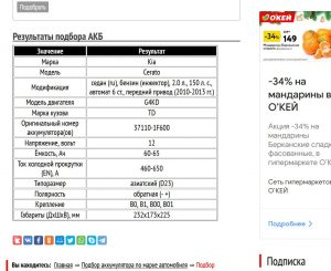 Подбор аккумулятора для Церато 2010─2013 гг.
