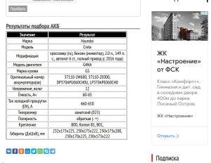 Подбор стартерной АКБ для Hyundai Creta с двигателем G4NA