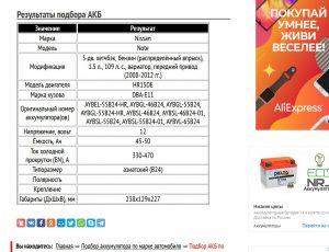 Данные по аккумуляторам, подходящим на автомобиль Ниссан Ноут 2008─2012 годов выпуска