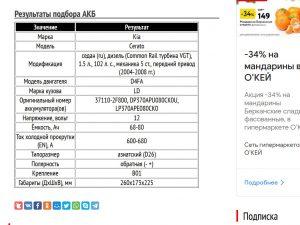 Результат подбора АКБ для Cerato с дизелем D4FA