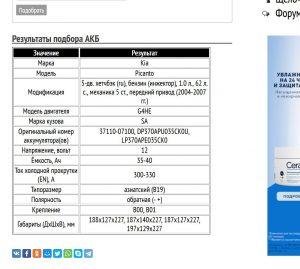 Подбор АКБ на Киа Пиканто с мотором G4HE