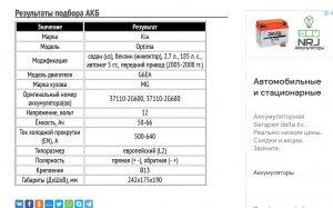 Подбор АКБ для Киа Оптима с бензином G6EA