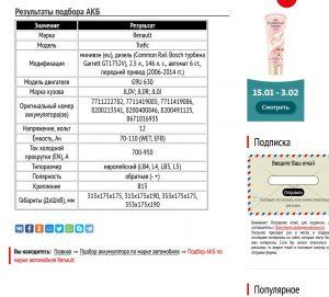 Подбор АКБ для Рено Трафик 2006─2014 гг. с дизелем G9U