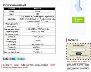 Подбор АКБ для Хендай Ай30 с двигателем G4KH