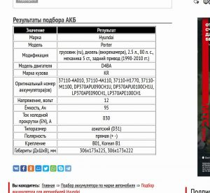 Номера и характеристики аккумуляторов в виде таблицы