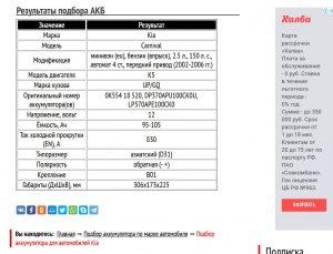 Подбор АКБ для Киа Карнивал 2002-2006