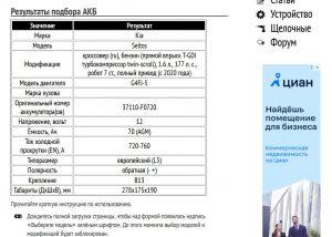 Подбор аккумулятора для Киа Селтос с G4FJ-5 1.6 л