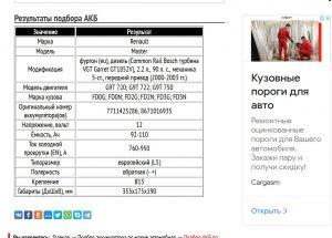 Подбор аккумулятора для Рено Мастер 2000─2003 гг.