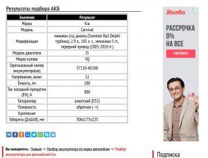Подбор АКБ для Киа Карнивал, дизель J3 2.9 л
