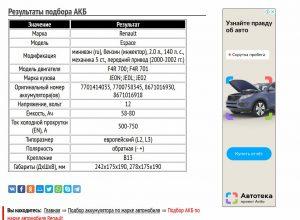 АКБ для Рено Эспейс с двигателем F4R