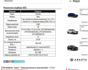 Подбор аккумуляторной батареи для Хендай Гетс 2005─2011 гг. двигатель G4EE