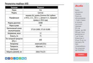 Подбор АКБ для Киа Карнивал, дизель D4HB 2.2 л