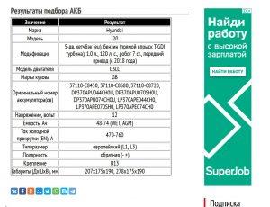 Результат подбора АКБ для Хендай ай20 G3LC бензин