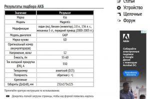 Результат работы сервиса подбора АКБ в виде таблицы