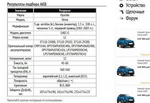 Пример подбора АКБ для Хендай Верна G4EC-G 1.5 л
