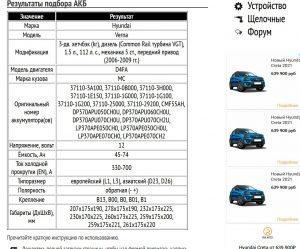 Подбор АКБ для Хендай Верна с дизелем D4FA 1.5 л