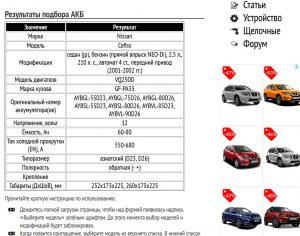 Результат подбора АКБ для Ниссан Цефиро VQ25DD 2001─2002 гг.