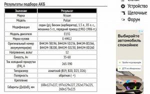 Результат подбора аккумулятора для Nissan Pulsar в виде таблицы