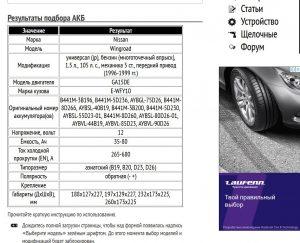 Результат работы сервиса подбора АКБ для Nissan Wingroad