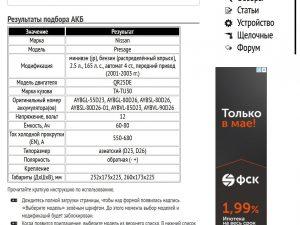 Результат подбора АКБ для Ниссан Пресаж 2.5 л QR25DE