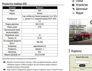 Подбор АКБ на Lada Kalina 1.6 л 2013-2018 гг.