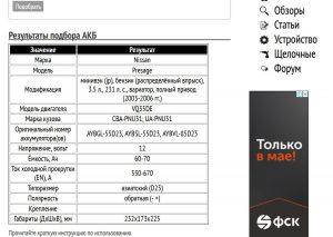Результат подбора аккумуляторной батареи для Ниссан Пресаж 3.5 л VQ35DE 2003-2006 гг.