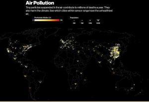 Карта загрязнённости воздуха на планете