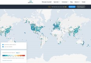 Датчики загрязненности воздуха на сайте проекта OpenAQ