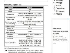 Подбор АКБ на Ауди А8 D2 2.8 л, 193 л. с. 1998-1999 гг.