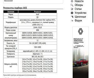 Пример подбора АКБ для Ауди Ку5 дизель 2.0л., 170 л. с. 2008-2012 гг.