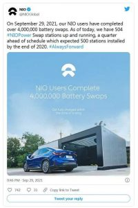 4 миллиона замен аккумуляторных батарей на станциях Nio
