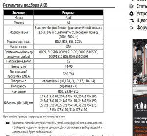 Подбор аккумуляторной батареи на Ауди А3 с двигателем бензин 1.6л., 102 л. с. 2004-2008 гг.